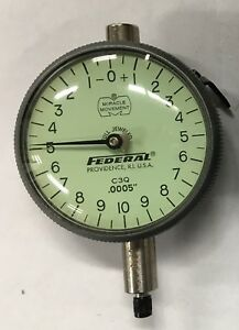 Federal C3q Dial Indicator With Adjustable Back 0 050 Range 0005 Graduatio