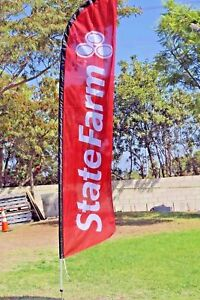 State Farm Windless Swooper Flag 15ft Full Sleeve Banner Pole Ground Spike