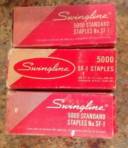 Vintage Swingline Metal Stapler And Lot Of 3 Boxes Swingline Staples 5000 Sf 1