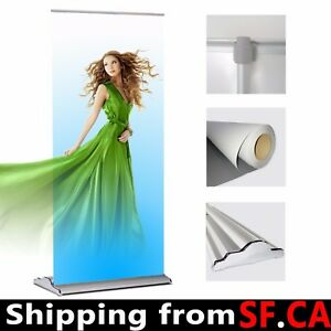 1 Pack 36 x 80 deluxe Retractable Roll Up Banner Aluminum Stand adjustable