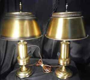 Pair Brass Finished Tole Desk Lamps With Matching Shades