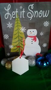 Christmas Hex Ornaments Two Sided White Aluminum Dye Sublimation Blanks 0 85ea