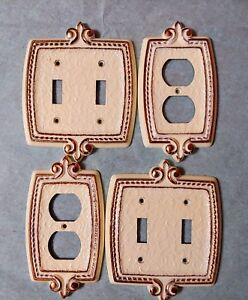 White Brass Dbl Switch Plate Cover Plug Outlet Vintage Lot 4 Amerock Bonaventure