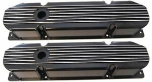 Big Block Mopar Black Finned Fabricated Valve Covers 383 400 426 440