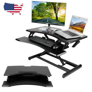 Height Adjustable Standing Desk Monitor Riser Table Sit Stand Computer Pc Desk