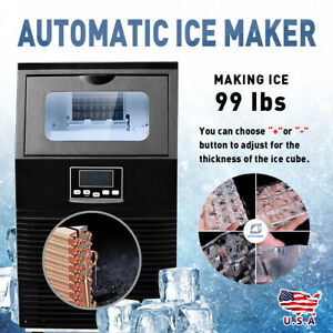 110v Black Stainless Steel Auto Commercial Bar Ice Cube Maker Ice Making Machine