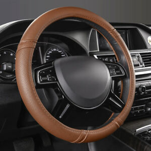 Universal Leather Car Steering Wheel Cover Brown Breathable For Audi Ford Vw Bwm