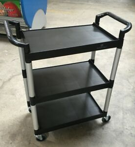 New 3 Tier Utility Bus Cart Plbc3316b Black Plastic Heavy Duty 3544 Dish Clean