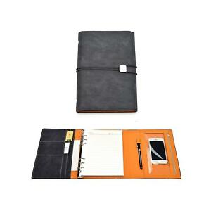 Organizer Notebook Hardcover Leather Journal W Pen Business Card Holder
