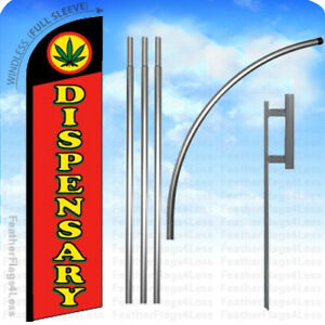 Dispensary Windless Swooper Flag Kit Feather Banner Sign 15 Set Rf