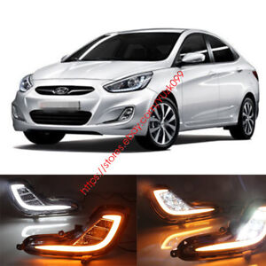 2x Drl For Hyundai Accent 2012 2013 2014 2015 Led Daytime Running Light Fog Lamp
