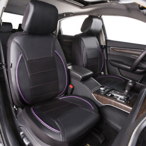 Universal 2 Front Car Seat Covers Leather Purple Black For Suv Van Truck Sedan