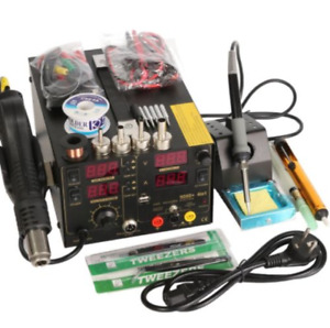 Saike 909d Rework Soldering Station Hot Air Gun Dc Power Supply 3 In 1 Mult