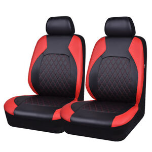 Universal 2 Front Car Seat Covers Pu Leather Red Black For Suv Van Truck Nissan