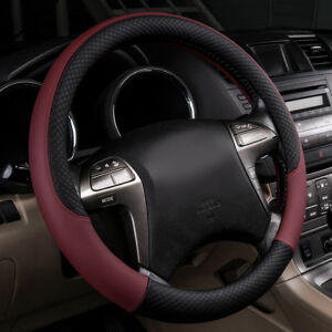 Universal Wine Red Leather Car Steering Wheel Cover For Ford Honda Girls 38 Cm