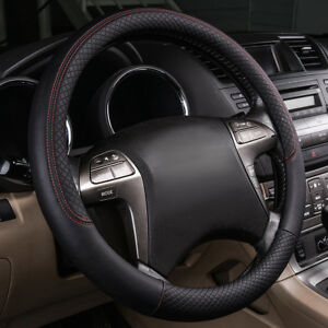 Universal Black Pu Leather Car Steering Wheel Cover For Ford Honda Bwm Benz Audi