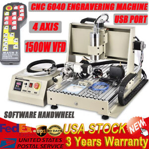 Usb 6040 1500w 4 Axis Cnc Router Engraver Engraving Milling Drilling Machine Rc