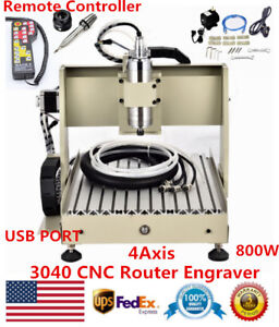 800w 4 Axis Usb Cnc 3040 Router Metal Engraver Milling Machine Vfd Ball Screw Us
