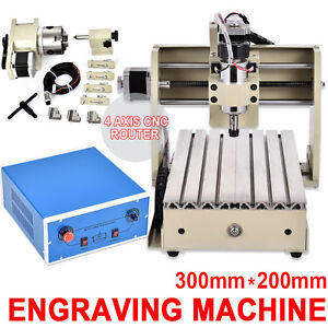 300w 4 Axis Mini Cnc 3020 Router Engraver Drill Carve Diy Metal Wood 3d Cutter