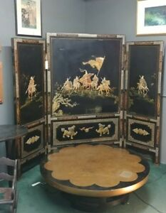 Antique Asian Screen Inlaid With Mother Of Pearls And Stone Chinese Japanese