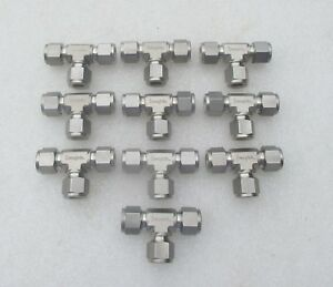 Lot Of 10 Swagelok 1 2 Stainless Steel Fitting Tee Tees Ss 810 3 New