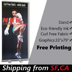 33 5x80 standard Retractable Roll Up Banner Stand Free Eco friendly Printing