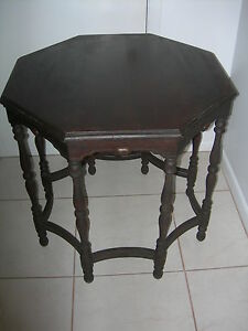 Antique Vintage Octagonal End Coffee Lamp Table Mahogany Federal Original