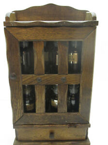 Vintage Wood Spice Rack With Apothecary Glass Jars With Drawer