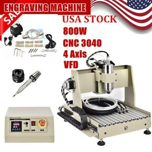 Four 4 Axis 3040 800w Cnc Router Engraver Engraving Milling Machine Ball Screw