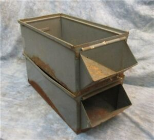 Lot 2 Large Metal Hardware Store Parts Bins Display Industrial Age Storage A
