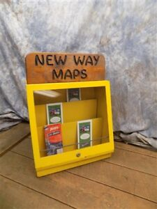 New Way Maps Cabinet Counter Top Display Show Case Vintage Advertising Sign
