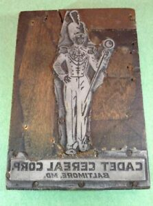 Antique Metal On Wood Printing Block cadet Cereal Baltimore Md