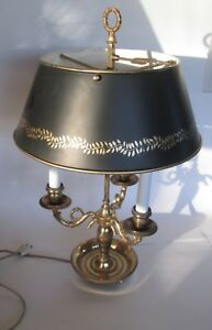 French Style Brass Bouillotte Table Desk Lamp Black Gold Tole Shade 3 Horn Nice