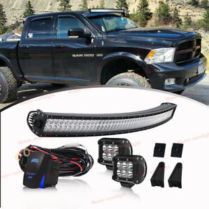 50 Curved Roof Led Light Bar W 2x Pod Light For 93 98 Jeep Grand Cherokee Zj