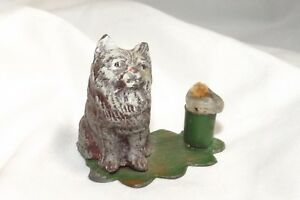Antique German Spelter Cold Painted Cat With Mini Candleholder Sign Germany Only