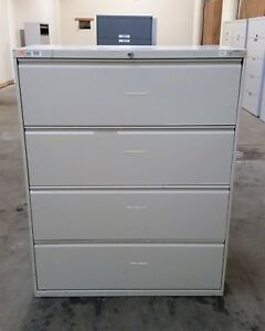 Hon 4 Four Drawer Lateral Legal File Cabinet Taupe 8 Nonfunctional Lock