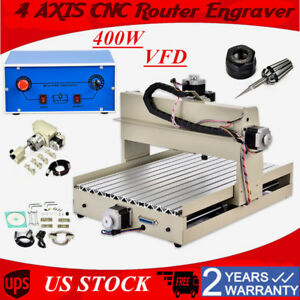 4axis 3040 Cnc Router Engraver Engraving Cutter T screw Desktop Cutting 400w Us