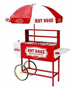 New Nostalgia Hdc701 48 inch Hot Dog Vending Cart With Umbrella Sealed In Box