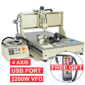 Usb 4axis 2 2kw Cnc 6090 Router Engraver Engraving Milling Drilling Machine rc