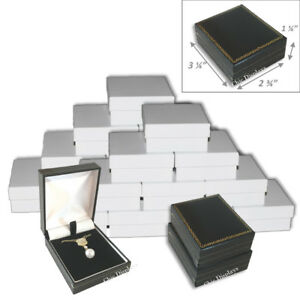 Lot Of 24 Faux Leather Pendant Box Large Earring Black Box Jewelry Gift Box
