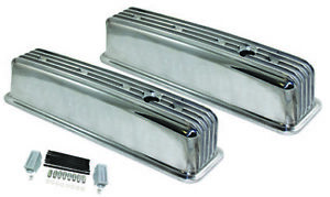 Center Bolt Sb Chevy Tall Retro Finned Polished Aluminum Valve Cover 87 95 350