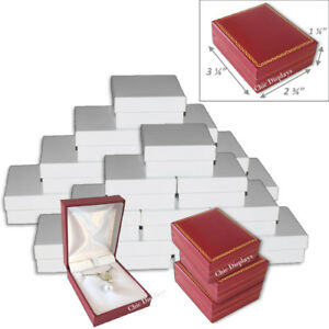 Lot Of 24 Pendant Large Earring Box Red Faux Leather Box Gift Box Jewelry Box