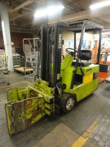 Clark Tm20 3 Wheel Electric Forklift With Roll Clamp Rotator
