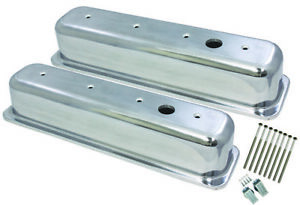 Center Bolt Sb Chevy Tall Smooth Polished Aluminum Valve Cover 87 95 305 350 V8