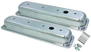 Center Bolt Sb Chevy Short Ball Milled Polished Aluminum Valve Cover 87 95 350