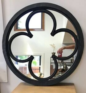 Folk Spanish Revival Antique Black Hand Made Iron Clover Mirror Wall 32 Welded