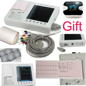 Gift 12 lead 3 channel Electrocardiograph Ecg ekg Machine Interpretation Printer