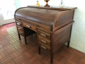 Large Early 1900 S Antique Derby Roll Top Desk