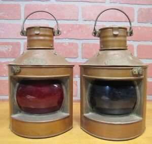 Old Pair Tung Woo Hong Kong Nautical Oil Lamps Copper Lanterns Starboard