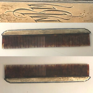 Rare Antique Victorian R W Wallace Sterling Silver Large Hair Comb